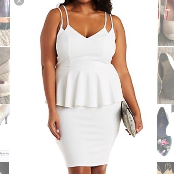 Charlotte Russe Plus White Peplum Dress